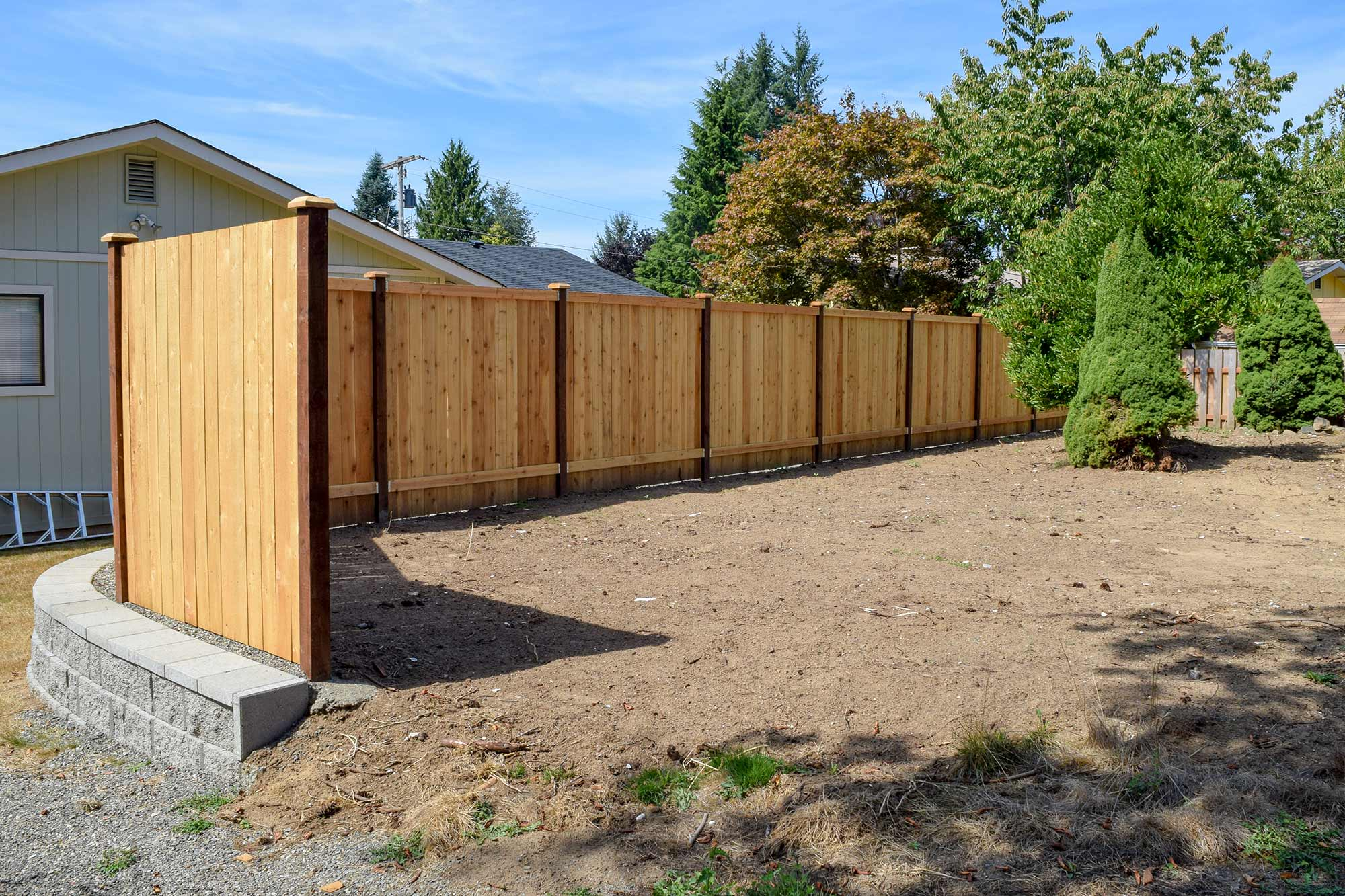 Panhandle property divider fence retaining wall in tumwater ajb rear view fence retaining wall rear view fence retaining wall baanklon Gallery