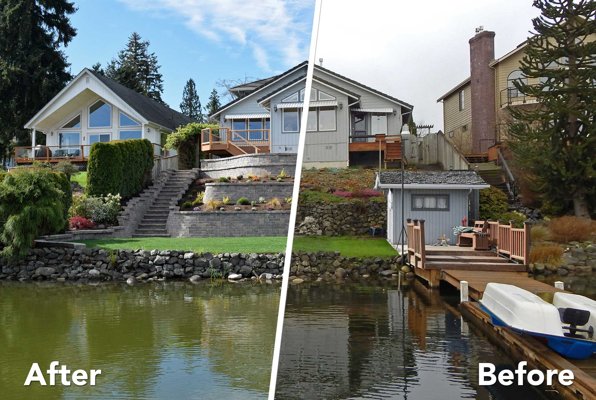 Tiered Retaining Wall On Lake Lawrence Near Yelm Ajb