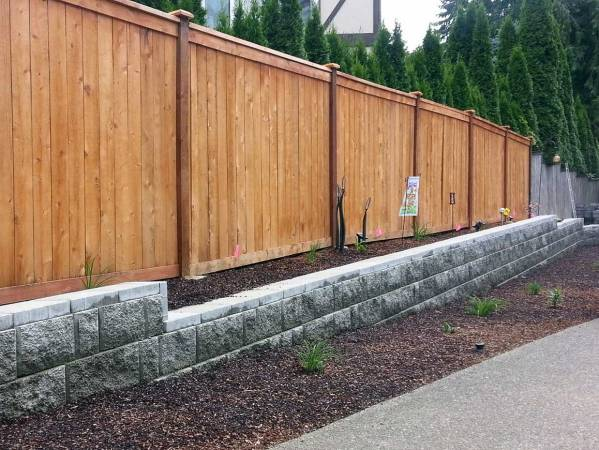 Retaining Wall And Fence In Olympia Ajb Landscaping