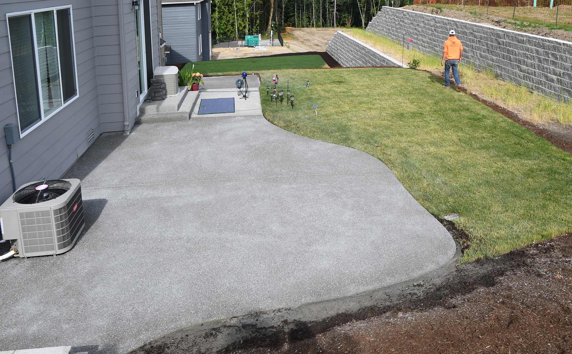 Hawks Prairie Concrete Patio Extension - AJB Landscaping ... on Backyard Patio Extension id=51475